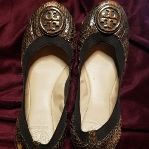 Tory Burch brown flats with gold logo